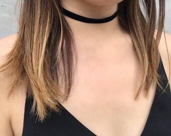 Black Velvet Choker (1cm), Velvet Choker, Thin Choker, Boho Choker, Layering necklace, Choker, Necklace