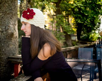 Crochet Beanie, Crochet Hat, Handmade Beanie, Woman Beanie, Beanie with Flower, Ecrou Beanie, Elegant Beanie, Vintage Beanie