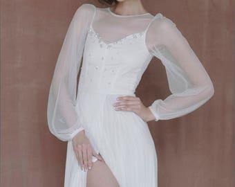 Silk and chiffon wedding gown, Ivory wedding dress