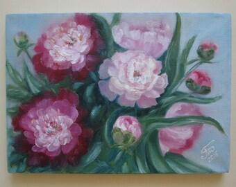 Peonies, flower painting, flowers lover gift, flower art, flowers oil painting, oil painting on canvas