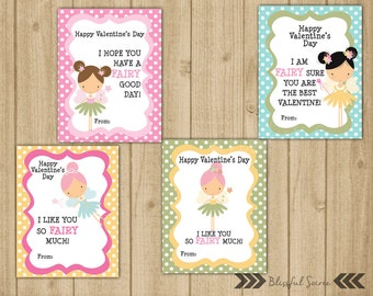 Kids Valentine Cards   Pink Fairy Valentine Cards   Valentine for Girls   Set of 4