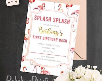 Flamingo Birthday Invitation Pool Party Invitation Girl First Birthday Invitation Pink and Gold First Birthday Invite Flamingo Summer Party