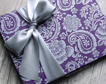 Purple Wedding Guest Book, Elegant Guest Book, Indian Guest Book, Paisley in Purple and Silver {MADE upon ORDER}