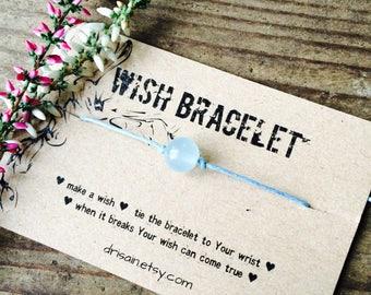 Aquamarine wish bracelet, Friendship bracelet, BFF bracelet, Gemstone wish bracelet, Minimalist jewelry, bridesmaid gifts