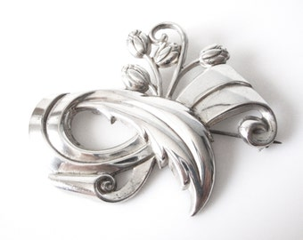 Vintage Sterling Silver Floral Spray Brooch