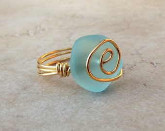 Ocean Blue Sea Glass Ring:  24K Gold Spiral Wire Wrapped Beach Jewelry, Turquoise Blue Cruise Resort Wear Accessory, Size 7