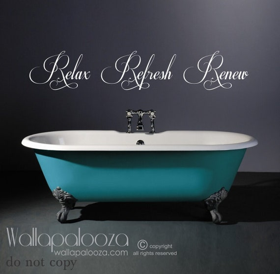 bathroom wall art bathroom wall decal relax refresh renew spa wall decal bath wall decal wall decals bath decor