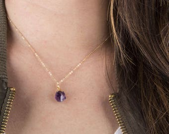 Raw Amethyst or Tourmaline Quartz Gemstone Necklace, Gift for Her, February Birthstone, Raw Amethyst Necklace, Simple Gold Necklace,
