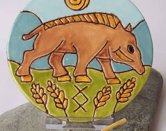 Ceramic Boar Art Tile, Norse God Freyr, Gullinborsti, Norse Decor, Altar Tile, Heathen Gift, Pagan Pottery, Pagan Gift, Freyr Gift, Inguz