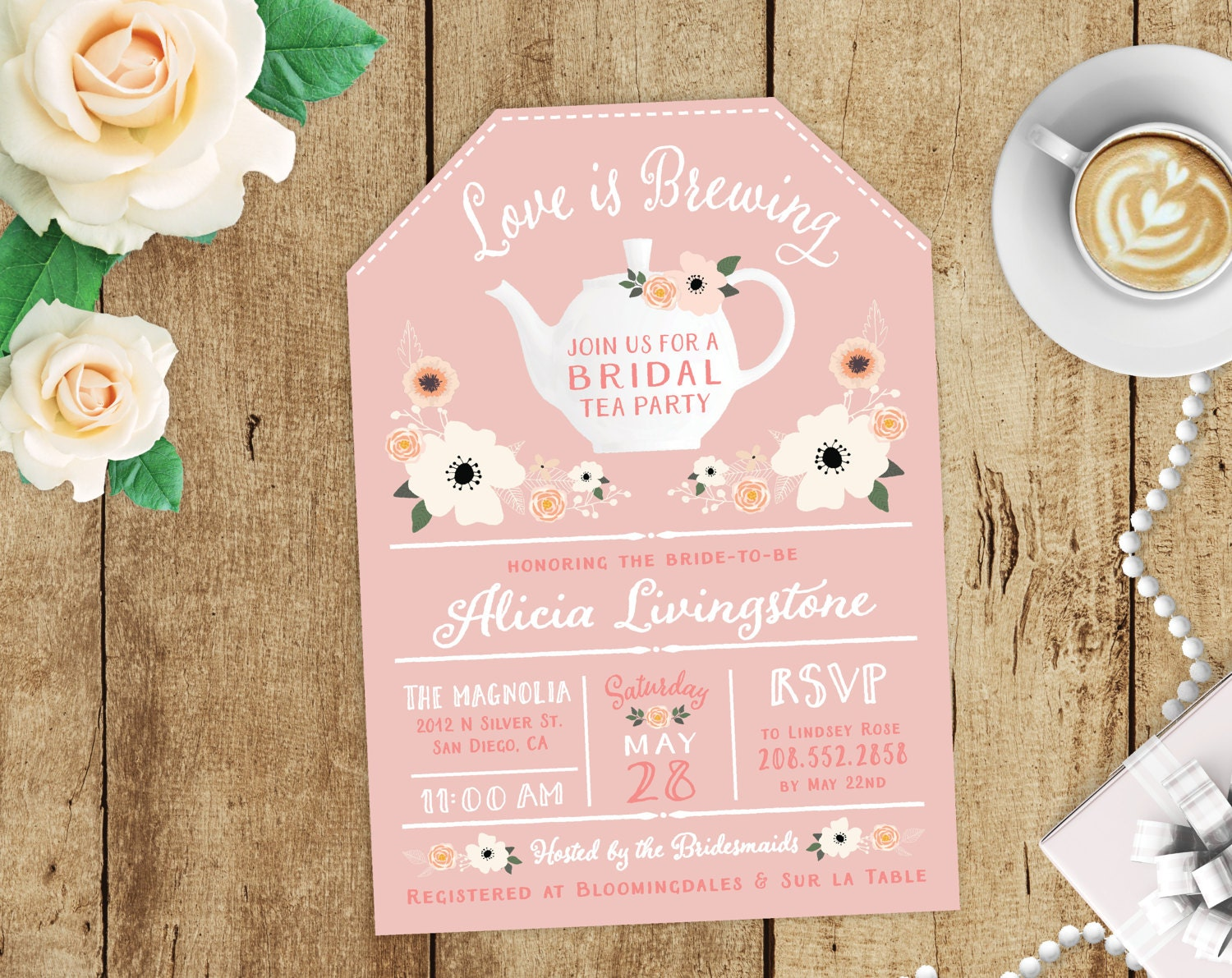 Love is Brewing Floral Bridal Shower High Tea Party