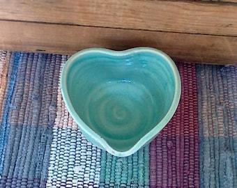 Rustic green handmade ceramic heart bowl - 4 inches - trinket dish - pottery snack dish - dresser bowl - bridal shower - pottery dish 615