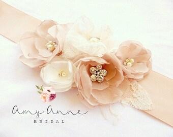 Blush Champagne and Ivory Lace Bridal Sash, Blush Wedding Sash, Blush Wedding Belt, Silk Flower Bridal Sash, Blush Bridal Belt