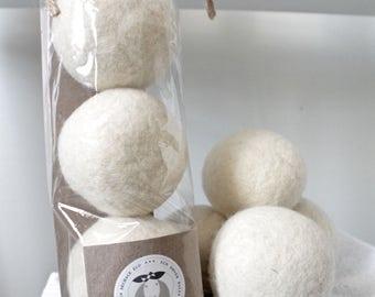 Set of 3 balls - WHITE - Charlotte Wool eco dryer balls