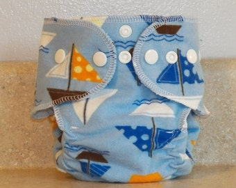 Fitted Preemie Newborn Cloth Diaper- 4 to 9 pounds- Sailboats- 16044