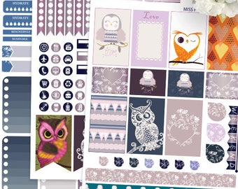 Owls Big Happy Planner Stickers Printable,Love Owls BIG MAMBI Happy planner Kit,Owls, Birds, Weekly Kit, Printable Sampler,Instant download