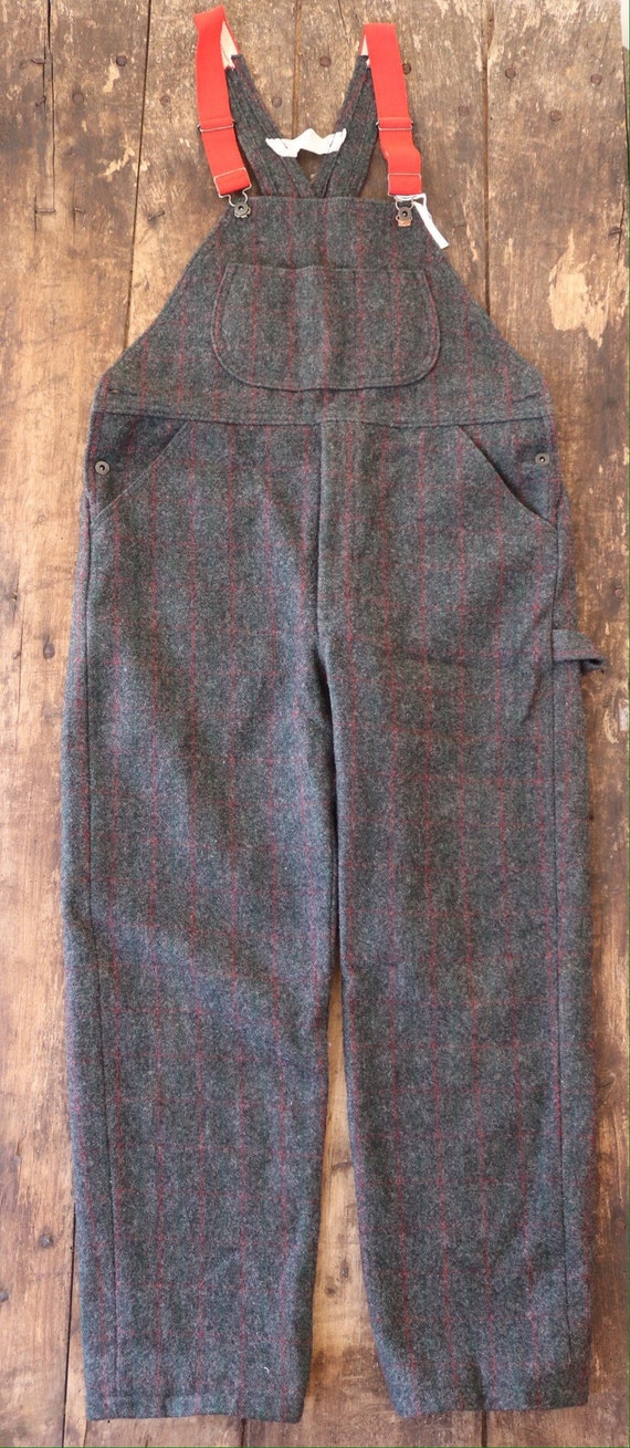 "Vintage Woolrich grey red green checked plaid wool hunting overalls dungarees trousers pants suspenders 40"" x 31"""