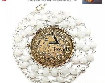 Natural Rainbow Moonstone rosary beads chain necklace, Rainbow Moonstone necklace, rosary necklace, beads chain necklace, catholic rosary