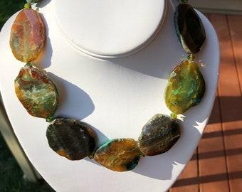 Dark Green Agate Necklace with Swarovski Crystals