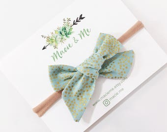 Teal and Gold Polka Dot Bow / Macie and Me