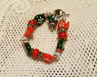 Christmas mitten bracelet Christmas jewelry
