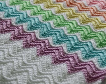 Hand made chevron crochet baby car seat blanket - pastel