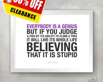 CLEARANCE / Back to school / High School Graduation Gift Idea / Genius - Einstein Quote Print / Inspirational // 5x7 / 8x10 / 11x14