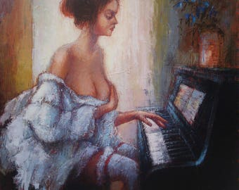 GIRL AND PIANO(80x80sm size, 650dollar, oil painting,  roled in the tube, modern art)
