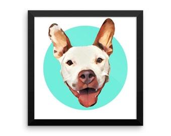 Framed custom pet portrait // Gifts for pet owners // Framed pet artwork //  12 x 12 made to order art piece //