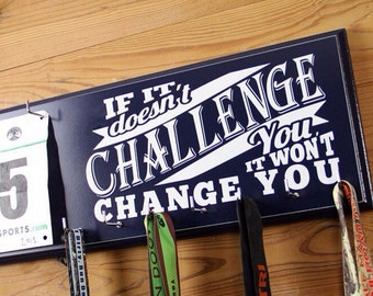Race Bib and Running Medal Hanger with Motivational Running Quote - Great Gift Idea for Runners Medals and Bibs
