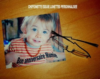 cloth wipes glasses personalized with your photo