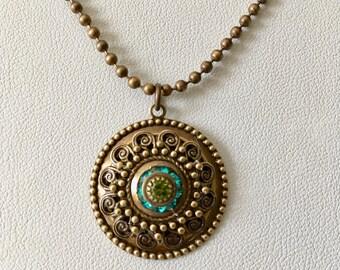 Turquoise/Olivine  Swarovski Filigree Medallion Necklace