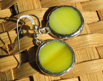 Bright Yellow and Silver Stained Glass Circle Earrings
