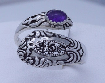 Victorian Floral Sterling Silver Adjustable Spoon Ring choose your gemstone - shown with Purple Amethyst