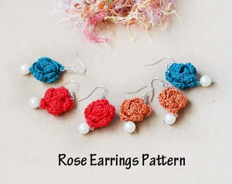 Crochet Earrings Pattern, Crochet Rose Earrings Pattern, Crochet Mini Rose Pattern, Crochet Jewelry, Crochet Pattern & Instructions