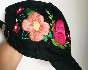 Floral baseball cap. Embroidered Cap. Hat for Women. Adjustable Cap. Cotton Embroidery. Embroidery hat. embroidered hat. black baseball cap