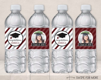 Graduation Water Bottle Labels | Class of 2018 Party Decorations | Maroon and Silver | Personalized & Printable