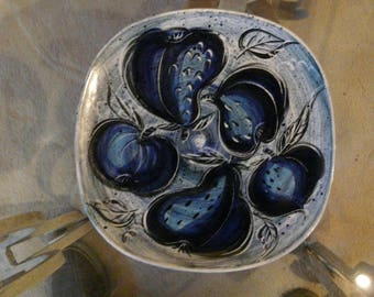 Handcrafted artist signed ceramic plate