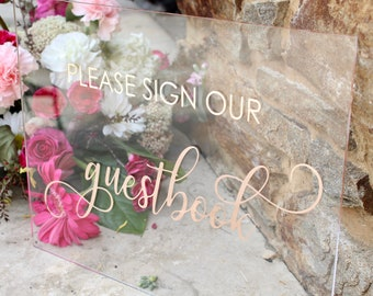 Custom Acrylic GuestBook Sign | Please Sign Our Guestbook | Wedding Sign | Acrylic Wedding Signs | Guestbook Sign | Wedding Decor Signs