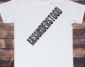 Mens T-Shirt Misunderstood distort slogan print TS1004