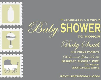 Shake, Rattle and Roll Baby Shower Invitation
