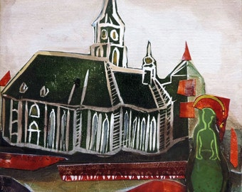 Ode to Cluj unique artwork acrylic and linocut painting on canvas, Gothic church cathedral, ready to hang collage Romania, green wall art