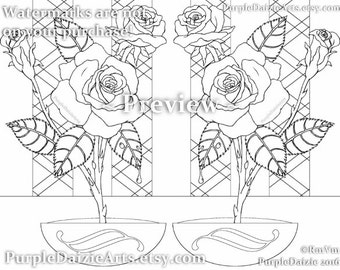 Adult Coloring Page Printable Roses Colour Digital Color Art Sheet Rose Buds Bud Cluster Flowers Line Drawing JPEG File Art Instant Download