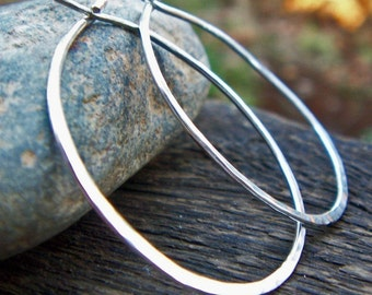 1.25 inch Sterling Silver Hoop Earrings, Sterling Silver, Hammered Silver Hoops, Argentium Sterling, Modern, Classic, Boho, Skinny Hoops