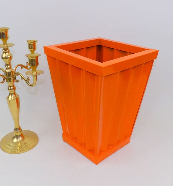 Mid Century Modern Orange Metal Flower Bucket Trash Can