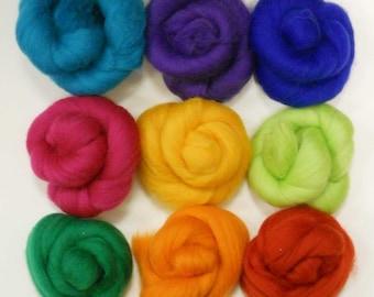 Felting Wools - Merino Wool Tops - BRIGHT Tones