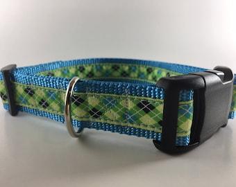 Lime Green & Blue Argyle Dog Collar/Leash