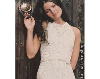 Lacy Dress Pattern Bare Shoulder Lace Dress Crochet Pattern Womens Sleeveless Dress PDF Instant Download Size 8 to 14 - C33