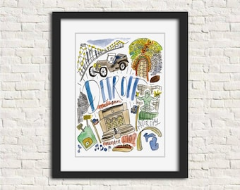 Detroit Handlettered Watercolor Wall Art 8x10 in Print