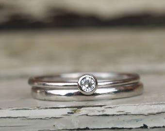 Platinum and diamond ring set