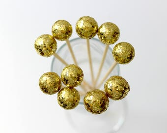 Gold Champagne Drink Stirrers, Drink Toppers, Party Favors, Wedding, Set of 12